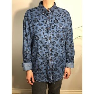 Other - Denim button down with black folk art pattern